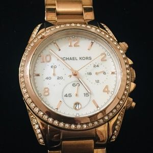 MICHAEL KORS WATCH WITH MOP DIAL & CRYSTALS